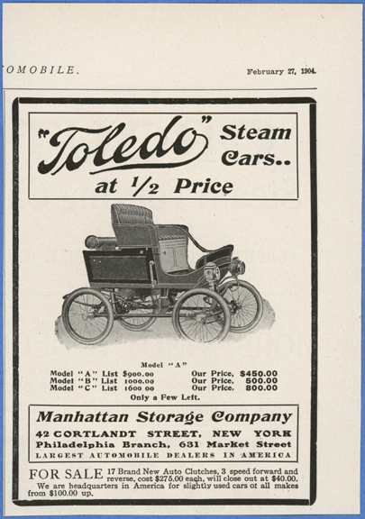 Toledo Steam Carriage, Manhattan Storage Company, February 27, 1904, The Automobile Magazine, Conde Collection