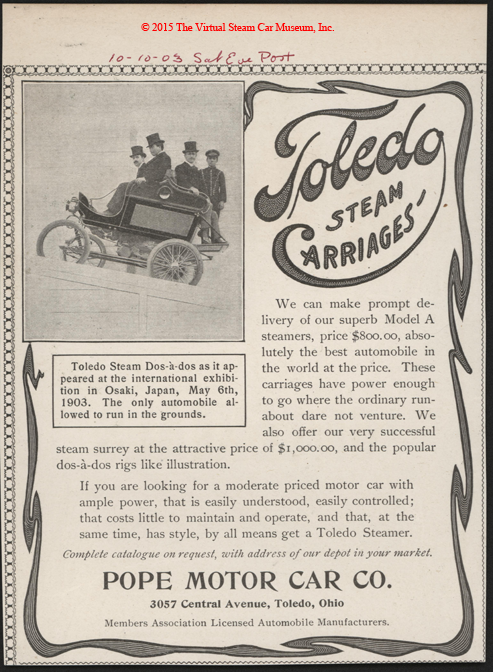 Toledo Steam Carriage, Pope Motor Car Company, October 10, 1903, Japan Hill Climb on May 6, 1903