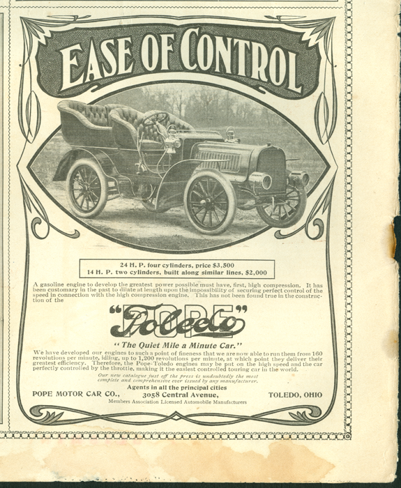 Pope-Toledo Gasoline Car, Pope Manufacturing Company, February 27, 1904, Saturday Evening Post.