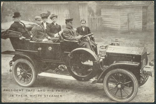 White Steam Car, Taft Inauguration Postcard, March 4, 1909  Front