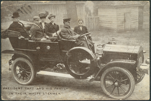 White Steam Car, Taft Inauguration Postcard, March 23, 1909, Pottstown, PA Dealer Front
