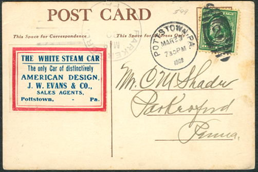 White Steam Car, Taft Inauguration Postcard, March 23, 1909, Pottstown, PA Dealer Reverse