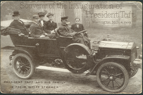 White Steam Car, Taft Inauguration Postcard, March 8, 1909 Front